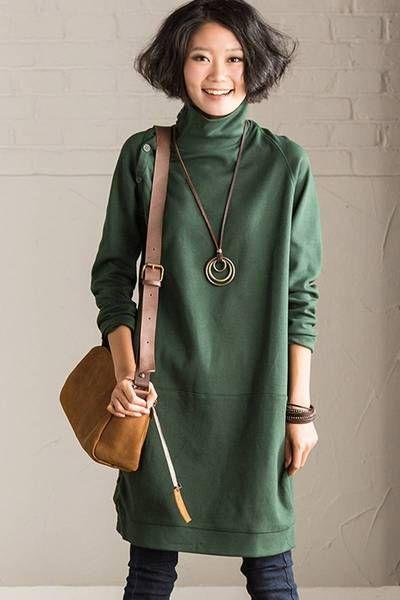 FantasyLinen Women Loose High Neck Cotton Dress, Plus Size Casual Dress Q9203A
