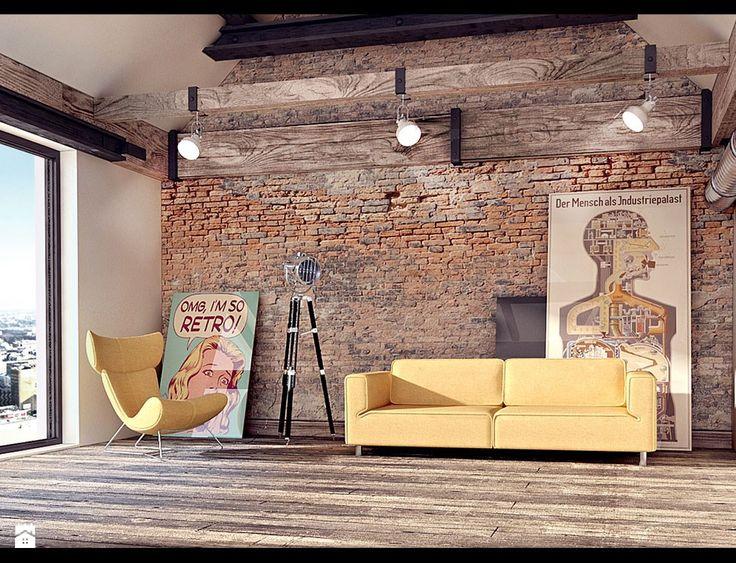 Salon - Styl Industrialny - 4Uprojekt- Projekty wnętrz