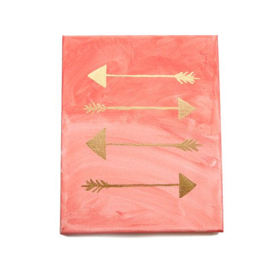 Original painting on Canvas in Coral Ombre and Shiny Gold. Tribal Arrows pointing the direction. Nice for office or Dorm Rooms.  Hand painted on