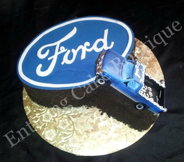 Ford Fondant Logo Grooms Cake With Pick Up Truck