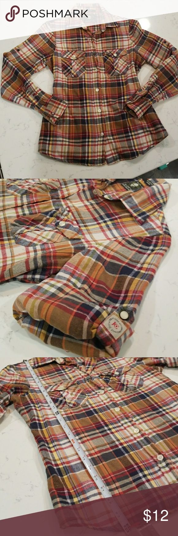 """Just A Cheap Shirt flannel button up Vintage looking plaid, flannel shirt. 100% Cotton. Snaps on sleeves and top button. Tag says Medium, but fits like a woman's Small. 24"""" from shoulder to bottom hem. Just A Cheap Shirt Tops Button Down Shirts"""