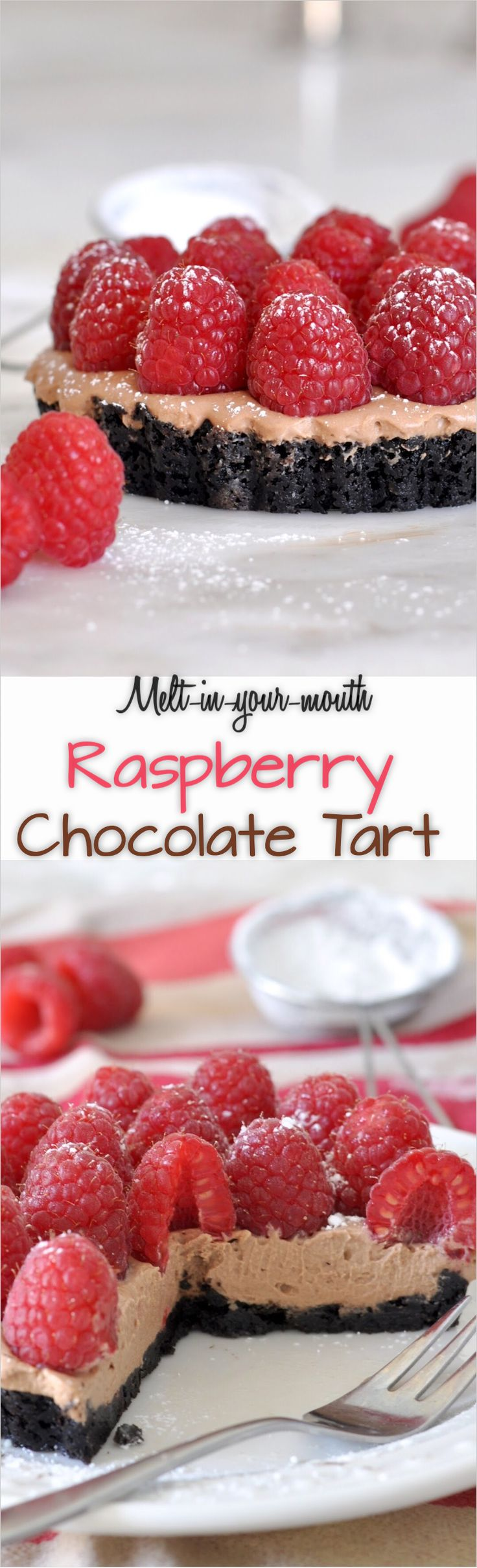 Elegant and easy to make double-chocolate tarts, topped with fresh and healthy raspberries.
