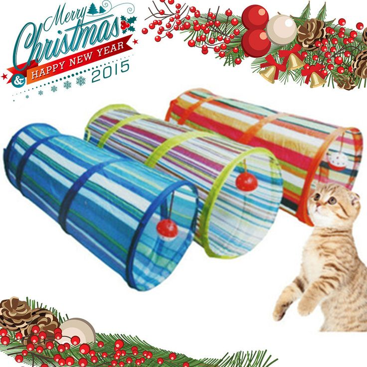 Cat Tunnel Crinkle With Ring Bell Kitten Play Toy Collapsible Colorful
