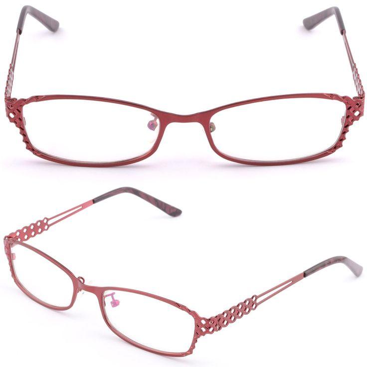 Rectangular Full Rim Metal Women's Prescription Glasses RX Sunglasses Frame Red #Unbranded