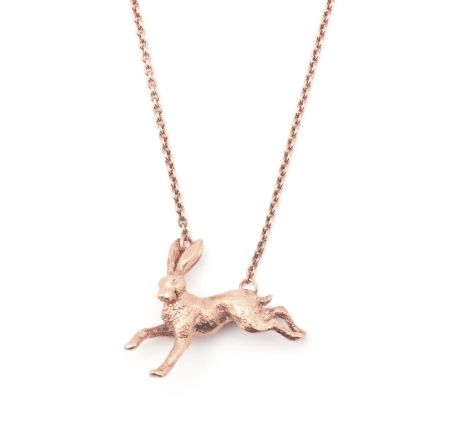 By Emily Gold Miniature Hare Necklace Lblkfj