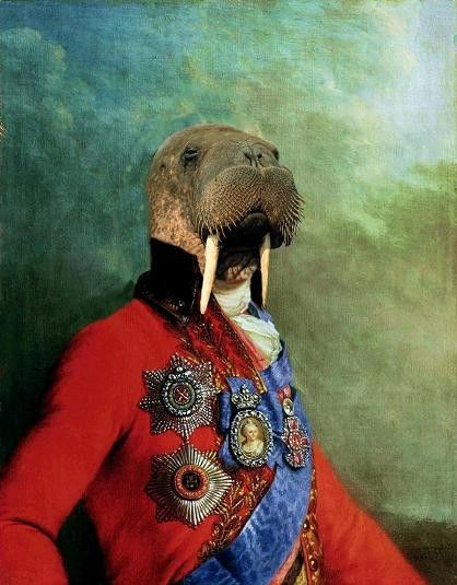 Sir Odobenus Rosmarus Portrait - Anthropomorphic Fine Art Print