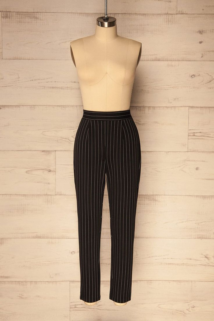 Poona Black Pinstriped High Waisted Pants | La Petite Garçonne
