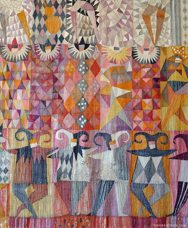 "The textile, called ""Karneval,"" was designed by Marianne Richter (MR) for the Märta Måås-Fjetterström AB studio in 1961."
