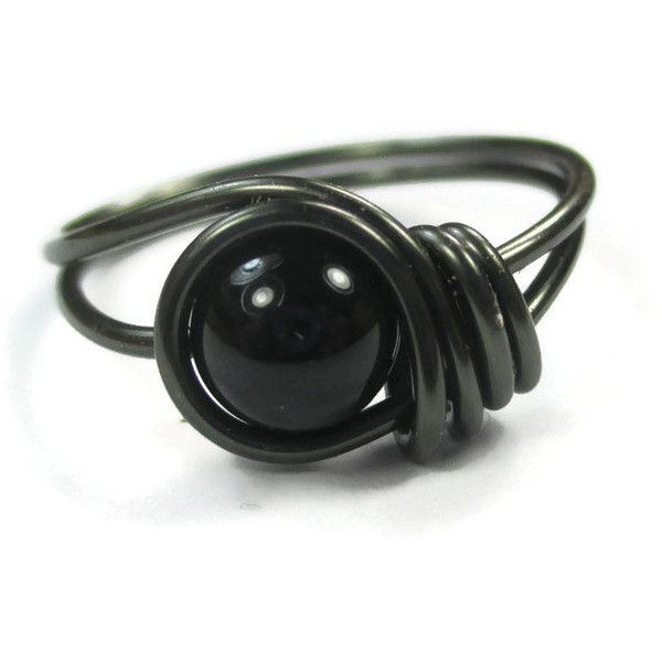 Black Onyx Ring Jewelry Custom Size Wire Wrapped Rings ($10) ❤ liked on Polyvore featuring jewelry, rings, goth jewelry, goth rings, rings, black onyx jewelry and gothic jewellery