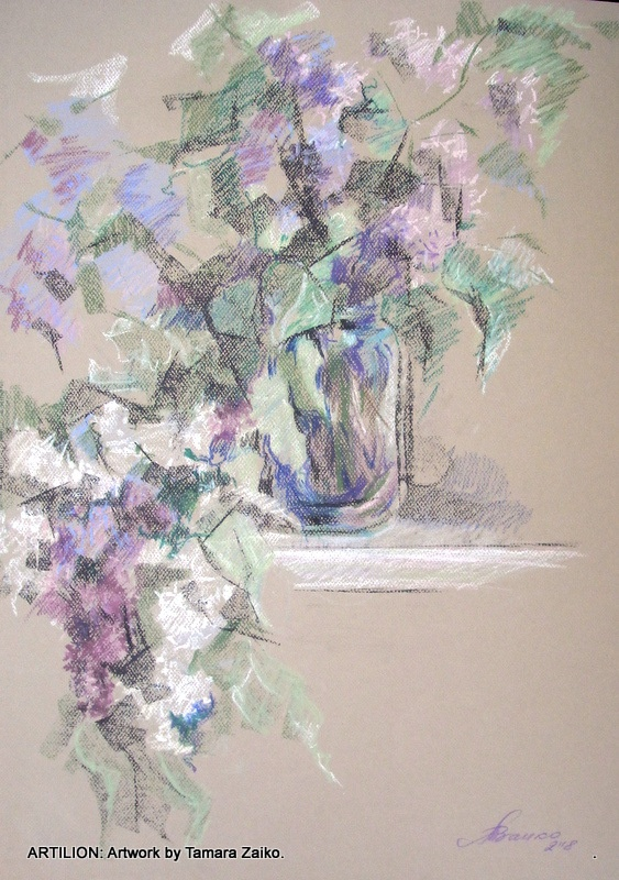 Lilac, lilac, once again lilac. Drawing by Tamara Zaiko.  Сирень, сирень, сирень! Рисунок Тамара Заико.