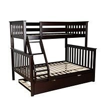 Max & Lily Solid Wood Twin/Full Bunk Bed with Trundle Bed, Espresso