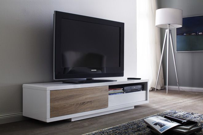 tv lowboard gerda lack hochglanz wei und eiche s gerau 1 x lowboard tv kommode media tv. Black Bedroom Furniture Sets. Home Design Ideas