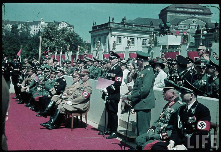 Reichs Veterans Day at Kassel, Germany, 4 June 1939. From right to left : Reichspressechef Otto Dietrich, Carl Eduard The Duke of Saxe-Coburg and Gotha, ?, ?, Gauleiter Karl Weinrich, Adolf Hitler, Erich Raeder, Walther von Brauchitsch, Wilhelm Keitel, Heinrich Himmler, Franz Ritter von Epp and Martin Bormann