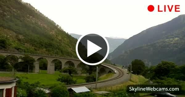 Live images from the Brusio spiral viaduct, one of the major attractions of the Rhaetian Railway