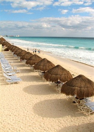 Cancun, Mexico. Hotel with it's own private beach, where the water is crystal clear.