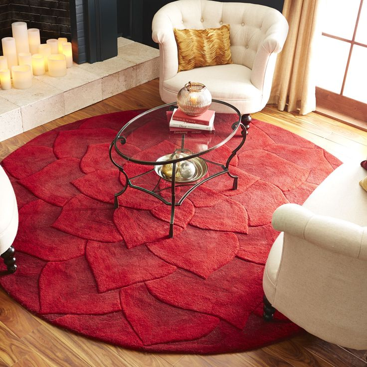 Rose Tufted Red Round Rug 18 best