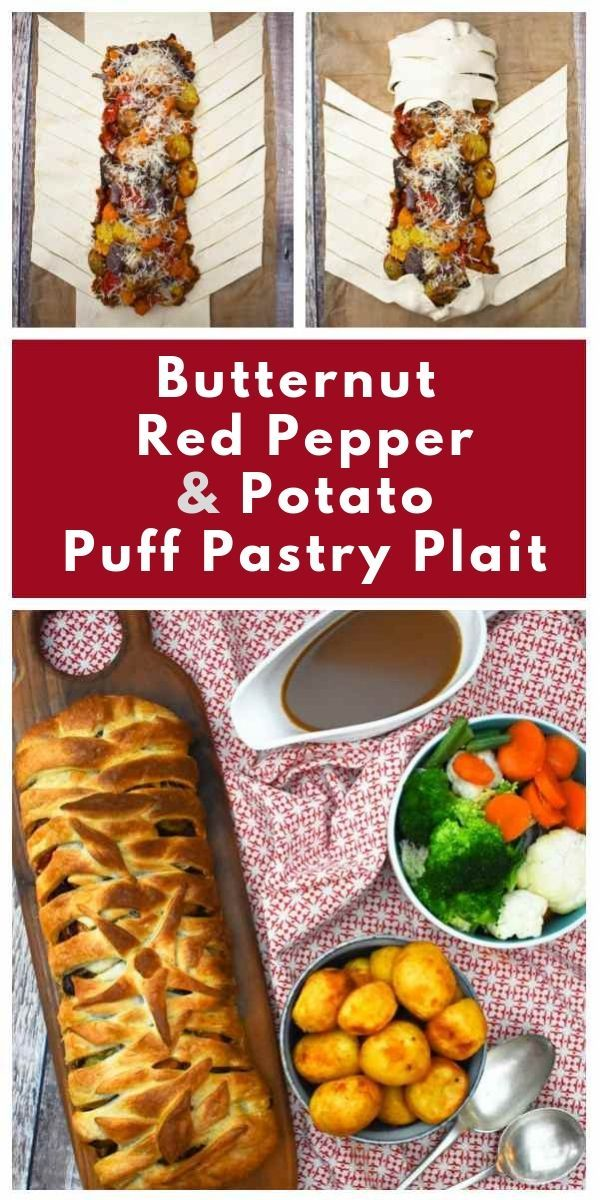 Butternut Red Pepper Potato Puff Pastry Plait Recipe