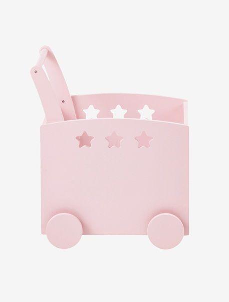 Fahrbare Spielzeugkiste mit Sternen GRAU+ROSA+WEIß