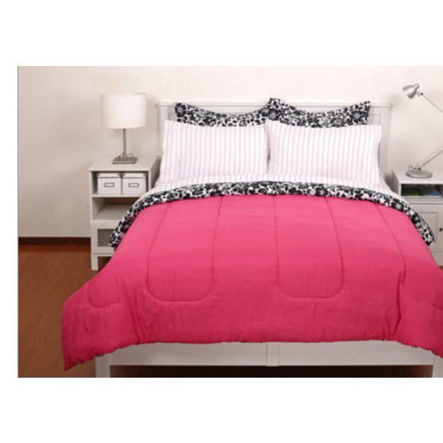 Teen bedding black white pink reversible girls full - Black white pink comforter ...