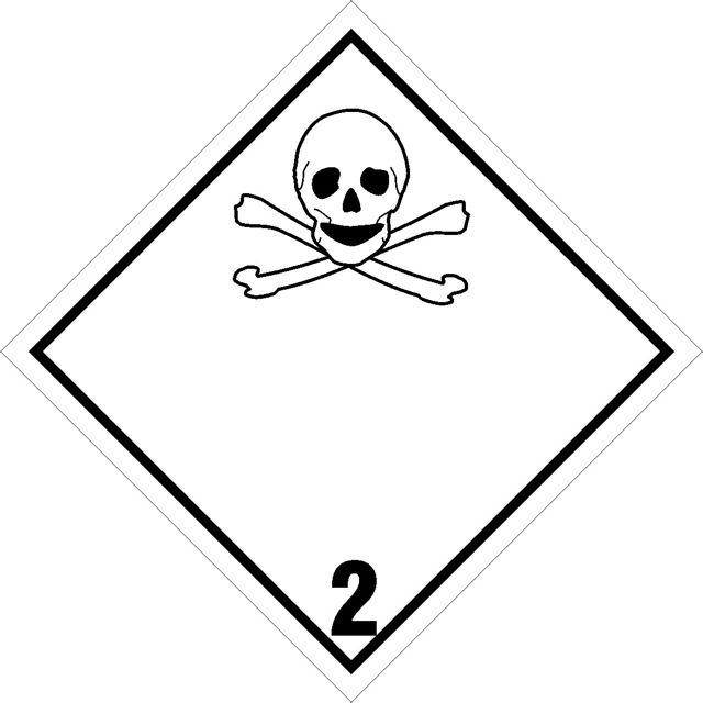 Naklejka Gazy trujące. Oznaczenie stosowane w transporcie gazów trujących określonych w klasie 2 Umowy ADR. Charakterystyka zagrożenia....