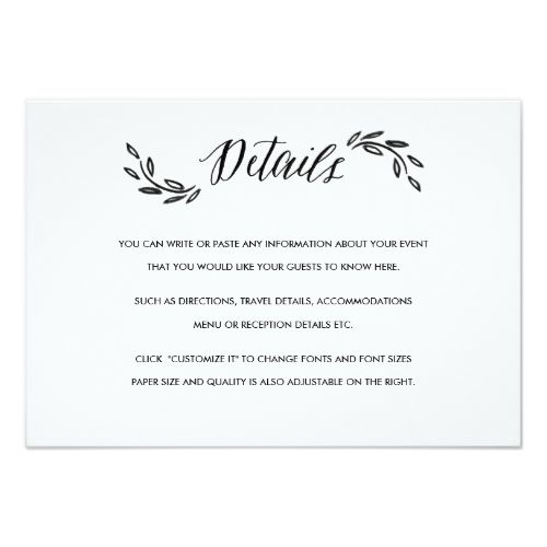 Watercolor Wedding Invitation Watercolor Woodland Wedding Insert Details Card