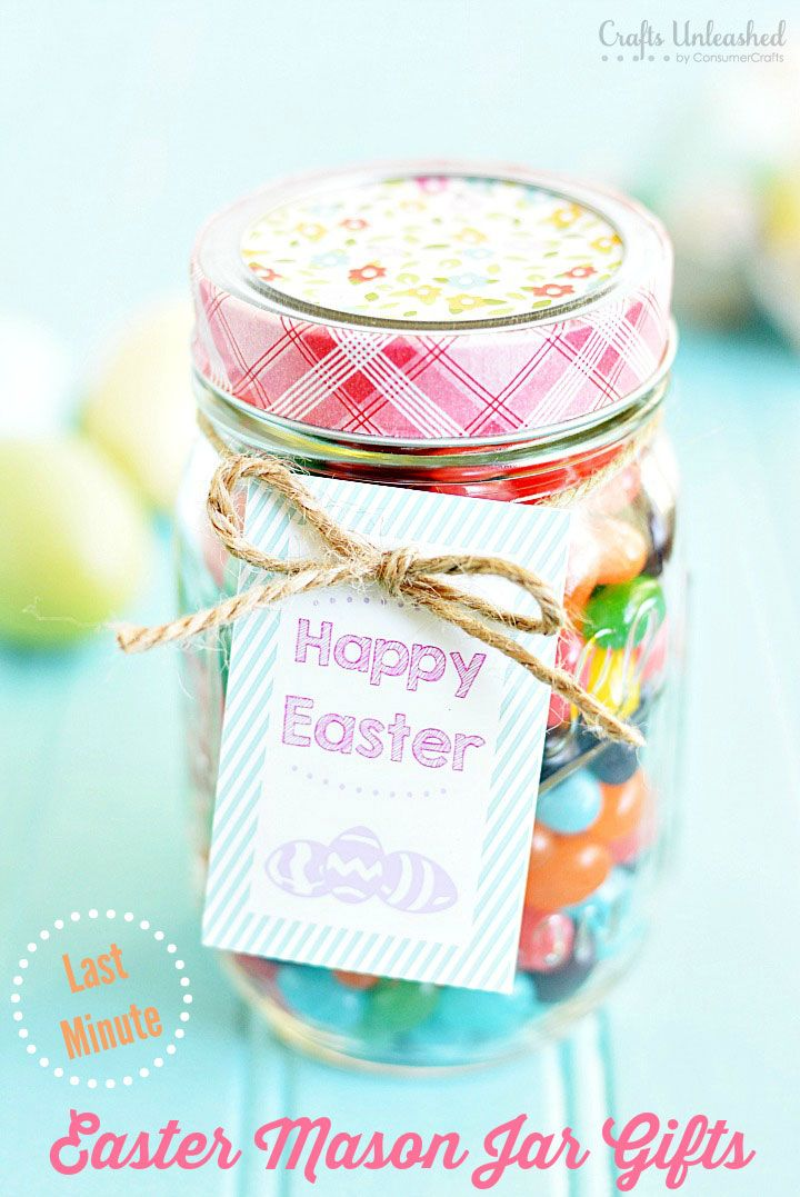 56 best mason jars easter images on pinterest easter crafts easter gifts last minute mason jar treats with free printable negle Image collections