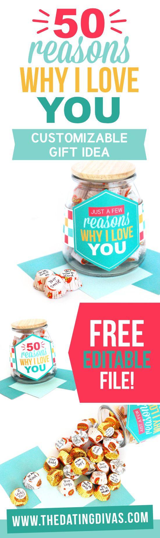 50 Reasons Why I Love Gift Idea #easygift #romanticidea