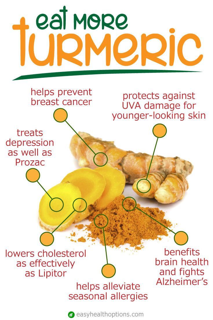 Most often used in Indian curry dishes, turmeric is a fantastic antioxidant and anti-inflammatory spice. Try supplements for best results.