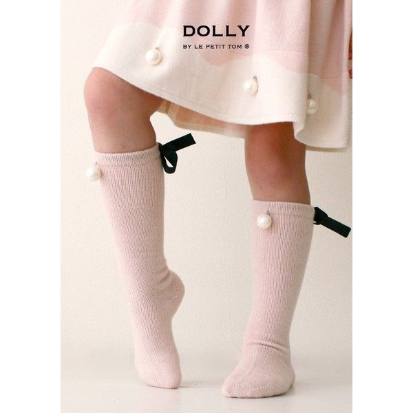 DOLLY by Le Petit Tom PEARLED HIGH KNEE SOCKS light pink ($51) ❤ liked on Polyvore featuring intimates, hosiery, socks, knee-high socks, petite hosiery, knee hi socks, light pink socks and knee socks