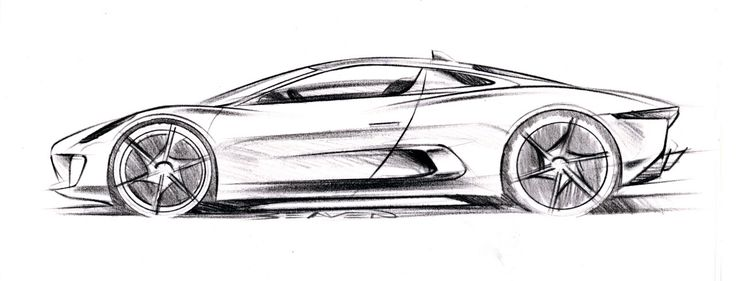 Jaguar C X75 Concept Design Sketch