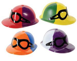 Plastic Jockey Helmet 6 Assorted by Caufields Plastic Jockey Helmet 6 Assorted. $12.49. Cardstock glasses on the front. Made from Plastic. Orders are filled with assorted colors. Set of 4 Hats. Having a Derby or horse racing themed party?  These plastic jockey helmets are the perfect accessory! They can be used to spice up a jockey costume as table decorations, or party favors. Not only are these hats available in a number of color combinations, but they also have card-stoc...