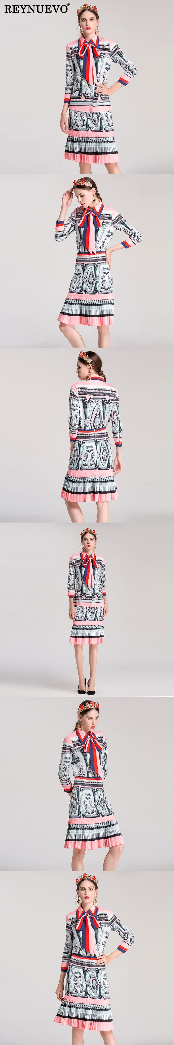New Patchwork Print 2 Pieces Fashion Autumn Winter 2017 Turn-down Collar Full Sleeve Women Shirt + Pleated Pretty Skirt Sets