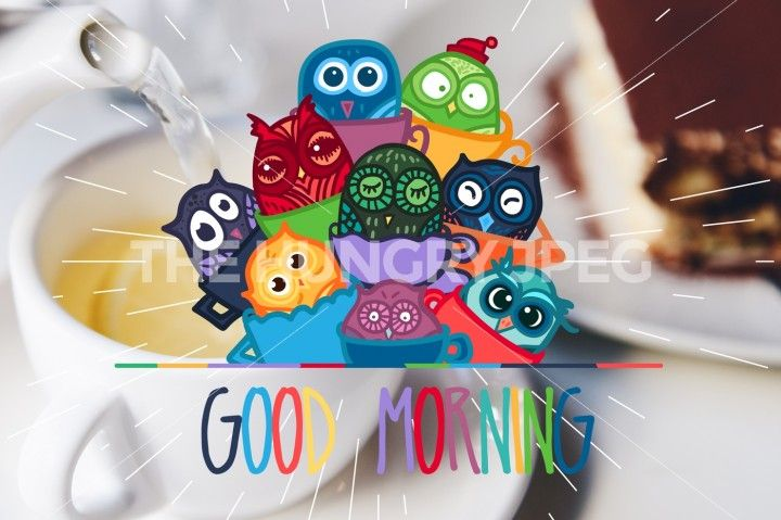 Vector Good Morning Banner With Owls In Cups Helps You To Drink Tea Or Coffee