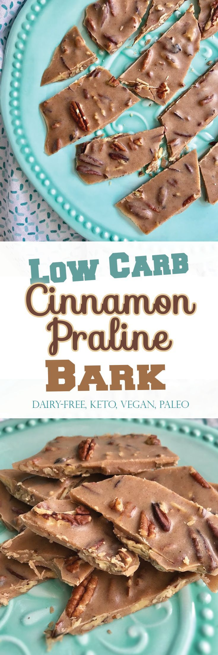 Crunchy, munchy pecan goodness without any SUGAR or dairy! Low-Carb Cinnamon Praline Bark that's Super easy (and so Addictive!) #vegan #keto #paleo PrettyPies.com