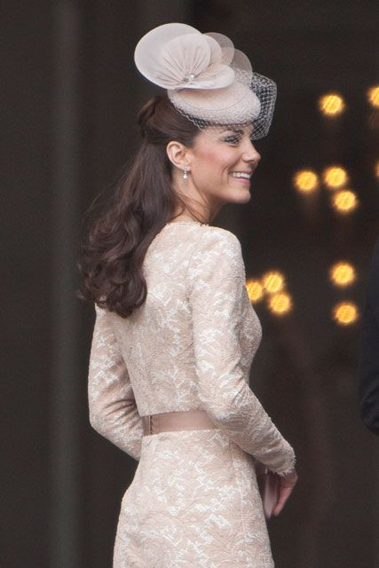 Kate Middleton at the Diamond Jubilee Thanksgiving Service.  Dress by Alexander McQueen's Sarah Burton: Duchess Of Cambridge, Alexander Mcqueen, Style Icons, Kate Middleton, Pearls Drop Earrings, Heavens Necklaces, Jubilee Celebrity, Catherine Duchess, Diamonds Jubilee