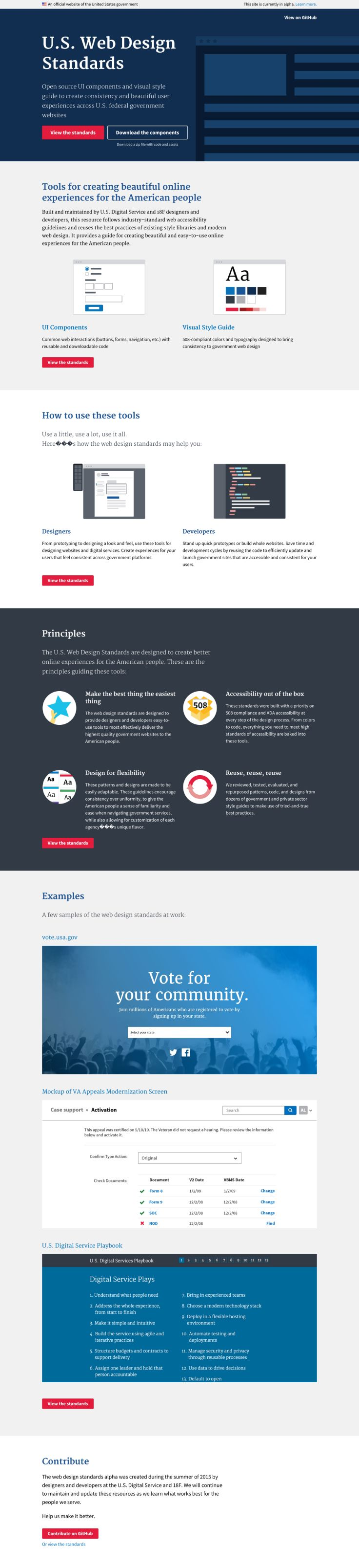 Open source UI components and visual style guide to create consistency and beautiful user experiences across U.S. federal government websites.