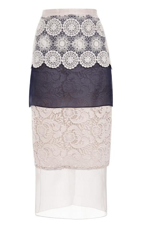 Mixed Silk And Cotton Lace Skirt by Ruban for Preorder on Moda Operandi