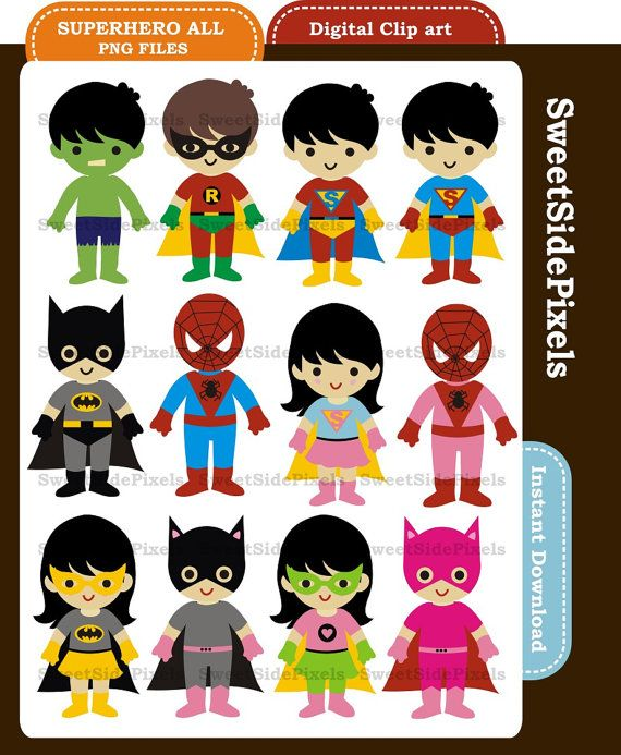 Superhero All - Digital Clip Art - Instant Download