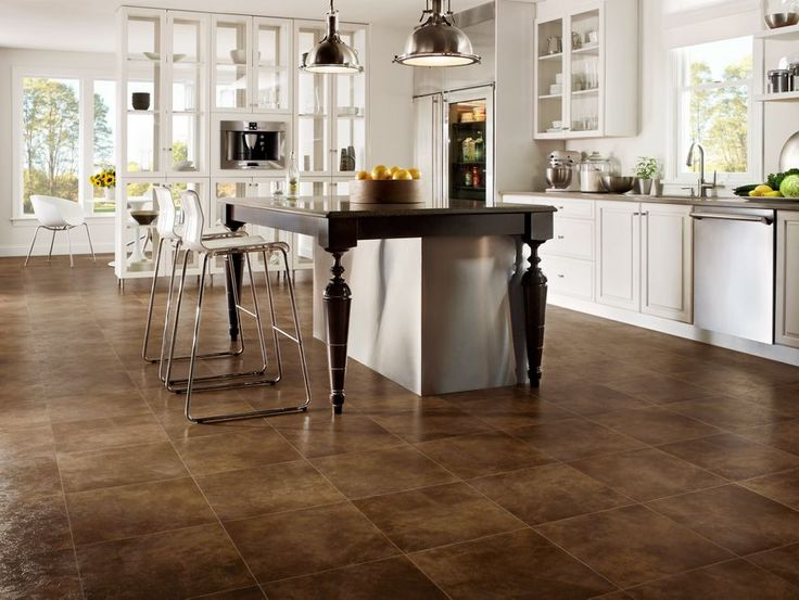 Leather Suede Vinyl Tile | Home Inspiration | White Kitchen | Dark Floors |  Home Decor