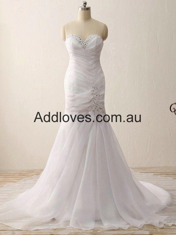 Mermaid/Trumpet White Sweetheart Chiffon Wedding Dresses