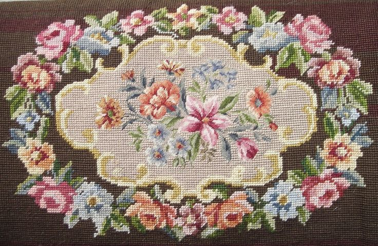 needlepoint | VICTORIAN NEEDLEPOINT FOOTSTOOL WITH PETIT-POINT CENTER | Collectors ...