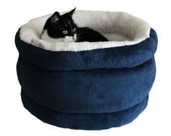 La cama del gato, muebles del gato, Cueva del gato, camas de gato, cama del animal doméstico, gato moderno muebles, pequeño perro cama Marina, gato azul cama, cesta de gato, acurrucarse saco cama