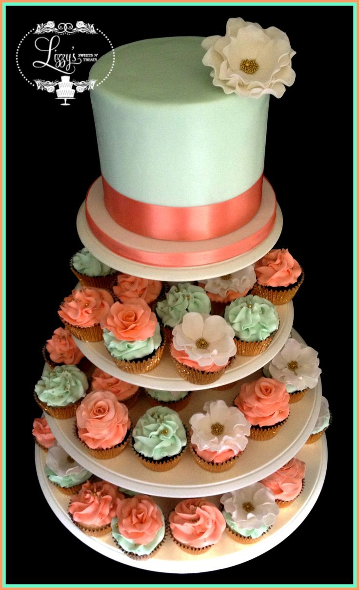 Shabby Chic wedding cake & matching cupcake. Coral & mint green. Fantasy flower and roses