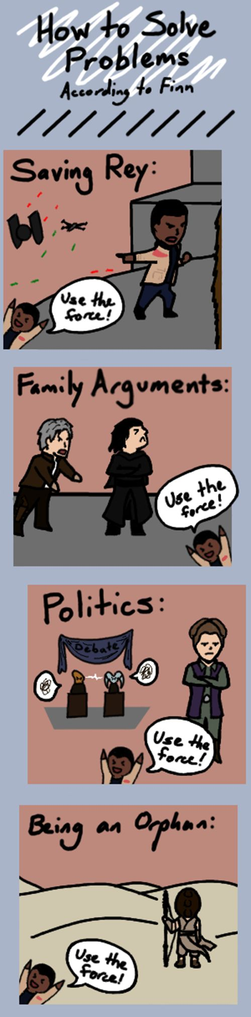 That's not how the force works! (TFA SPOILERS) by Himika1222.deviantart.com on @DeviantArt SPOILERS, the force awakens, Finn, Han Solo, Kylo Ren, Leia, Chewbacca, Rey, funny, humor, comic