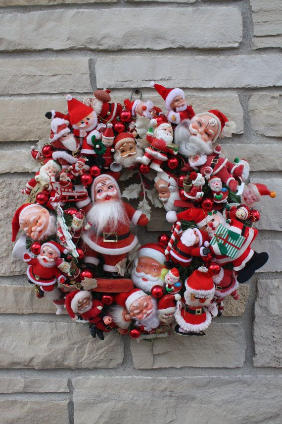 Vintage Christmas Santa Wreath Hand Crafted Hand by cybersenora. I just bought two vintage Santa picks from an antique store. Will have to work towards this.