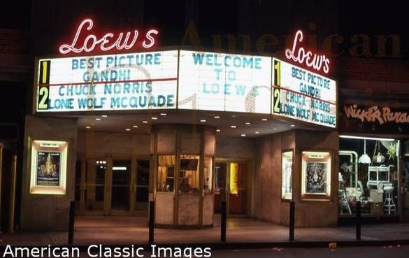 Loew's movie theater at night in 1983 in New Rochelle.