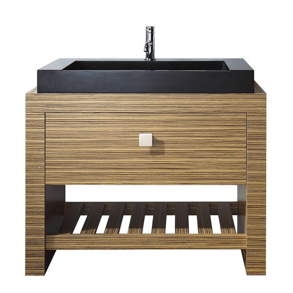 Avanity Knox 39-inch Single Vanity in Zebra Wood Finish with Sink and Top