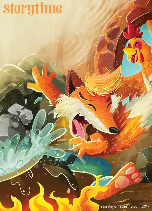 Little Red Hen gets the better of Sly Fox in Storytime Issue 37's fairy tale! Art by @Louisdavilla (Louis D Wiyono) ~ STORYTIMEMAGAZINE.COM