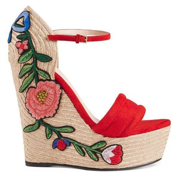 Gucci Embroidered Suede Platform Espadrille ❤ liked on Polyvore featuring shoes, sandals, floral sandals, gucci sandals, red platform sandals, suede sandals and platform sandals