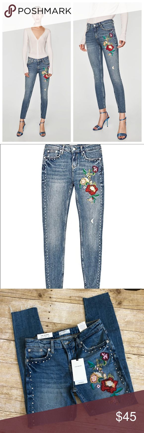 """Zara Woman The Skinny Studs and Embroidery Jeans Premium skinny denim by Zara Woman. Features beautiful floral embroidery with beading at thigh, studs down the sides, distressing throughout, super soft stretch denim. Material 99% cotton 1% elastane. Purchased on oxford street in London, England. Didn't fit once I got home, but I'm obsessed with these! Brand new with tags.  26"""" inseam 14"""" waist across Zara Jeans Skinny"""